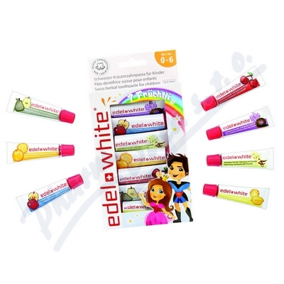 EDEL+WHITE Ovocné zubní pasty pro děti 7ks x 9.4ml
