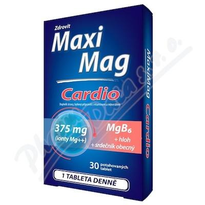 MaxiMag Cardio 375mg Mg+B6+hloh+srdečník 30 tablet