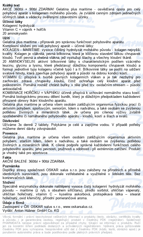 Gelatina Plus kolagenní výživa tbl.360+90 zdarma