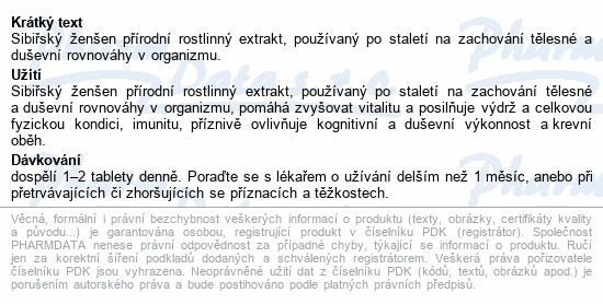 JAMIESON Sibiřský ženšen 650mg tbl.100