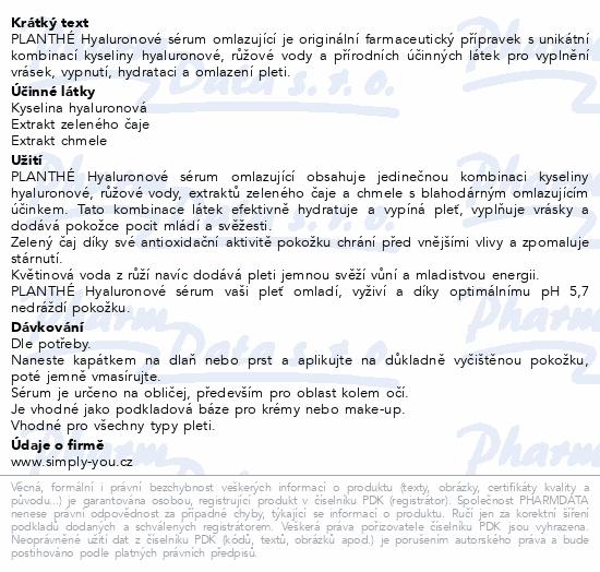 PLANTHÉ Hyaluronové sérum omlazující 50 ml