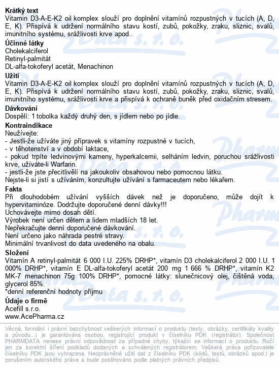 AcePharma Vitamin D3-A-E-K2 oil komplex tob.30